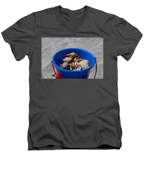 Men's V-Neck T-Shirt featuring the photograph Blue Beach Bucket by Michiale Schneider