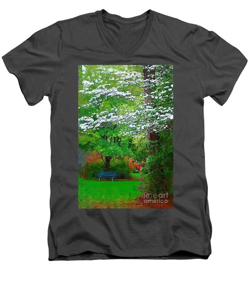 Men's V-Neck T-Shirt featuring the photograph Blue Bench In Park by Donna Bentley