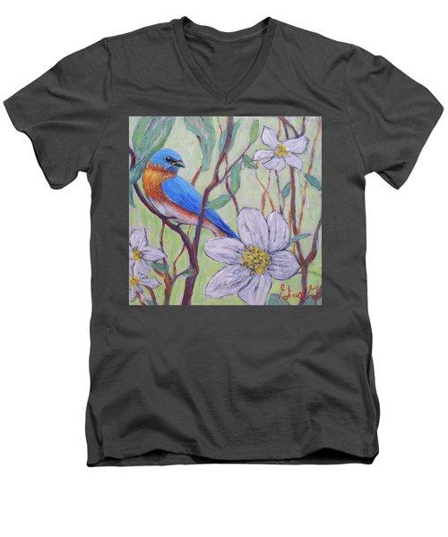 Blue Bird And Blossoms Men's V-Neck T-Shirt