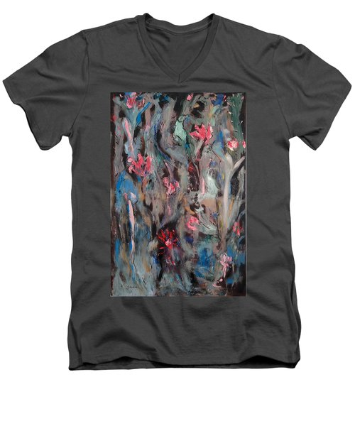 Blue Bird In Flower Garden Men's V-Neck T-Shirt