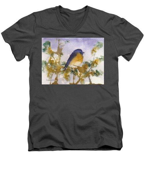 Blue Bird In Waiting Men's V-Neck T-Shirt