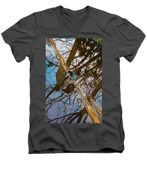 Blue Bird Men's V-Neck T-Shirt by Josy Cue