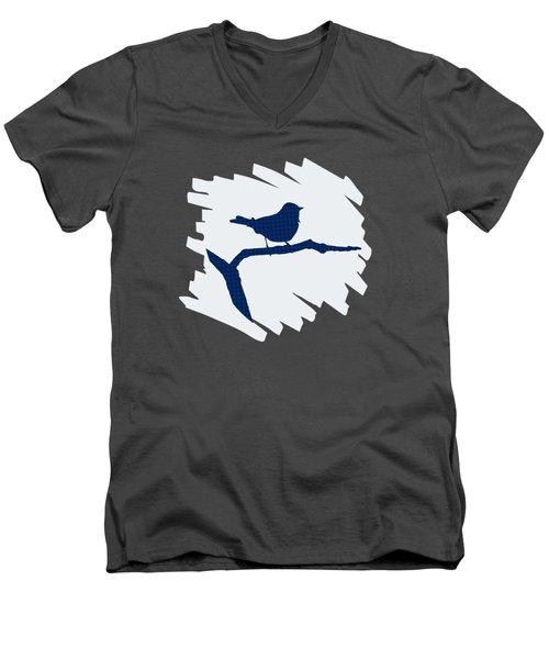 Blue Bird Silhouette Modern Bird Art Men's V-Neck T-Shirt by Christina Rollo