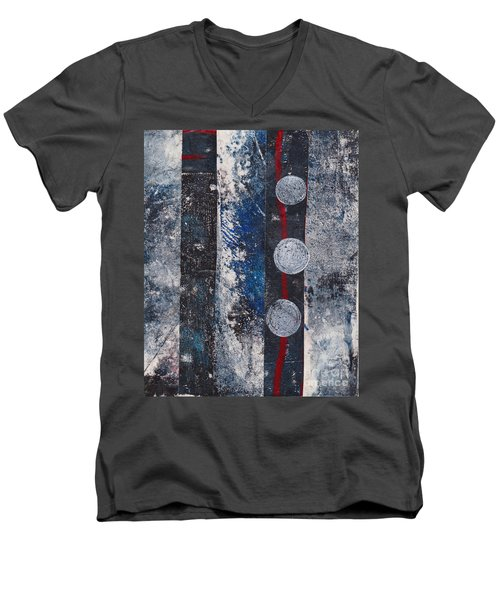 Blue Black Collage Men's V-Neck T-Shirt