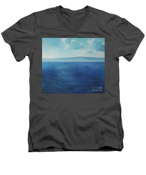 Blue Blue Sky Over The Sea  Men's V-Neck T-Shirt