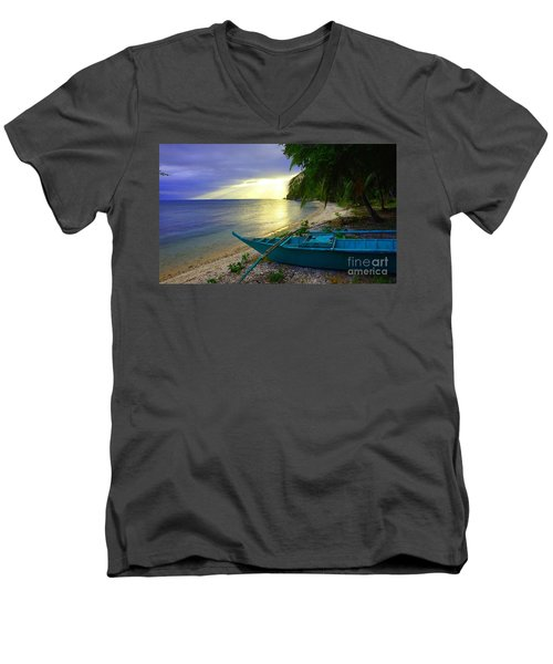 Men's V-Neck T-Shirt featuring the photograph Blue Boat And Sunset On Beach by Christopher Shellhammer