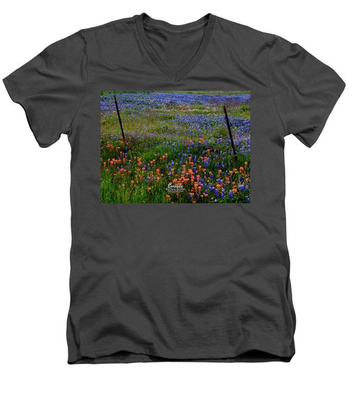 Men's V-Neck T-Shirt featuring the photograph Bluebonnets #0487 by Barbara Tristan