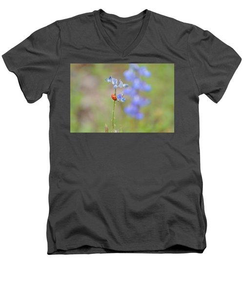 Blue Bonnets And A Lady Bug Men's V-Neck T-Shirt by Carolina Liechtenstein