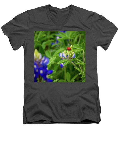 Texas Blue Bonnet And Ladybug Men's V-Neck T-Shirt