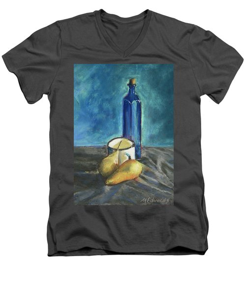 Blue Bottle And Pears Men's V-Neck T-Shirt by Marna Edwards Flavell