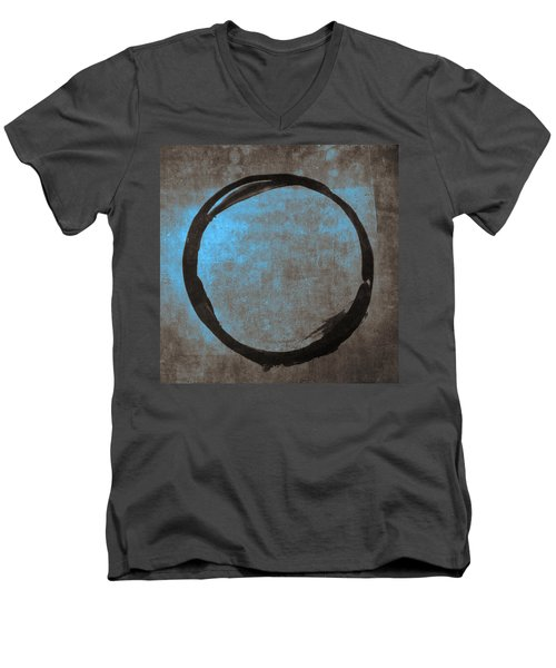 Blue Brown Enso Men's V-Neck T-Shirt