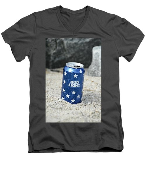 Blue Bud Light Men's V-Neck T-Shirt