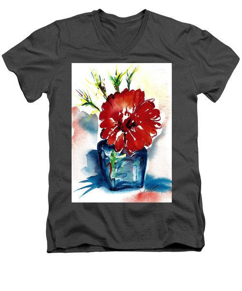 Blue Bud Vase Men's V-Neck T-Shirt