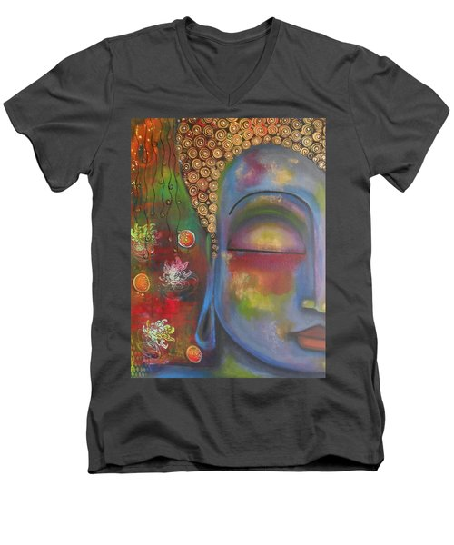 Men's V-Neck T-Shirt featuring the painting Buddha In Blue Meditating  by Prerna Poojara