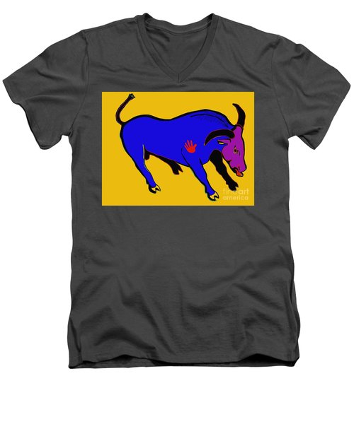 Blue Bull Men's V-Neck T-Shirt by Hans Magden