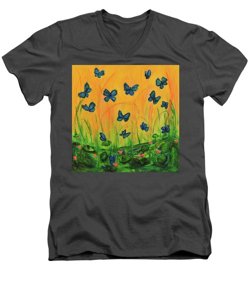 Blue Butterflies In Early Morning Garden Men's V-Neck T-Shirt