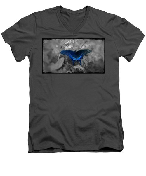 Blue Butterfly In Charcoal And Vibrant Aqua Paint Men's V-Neck T-Shirt by MendyZ