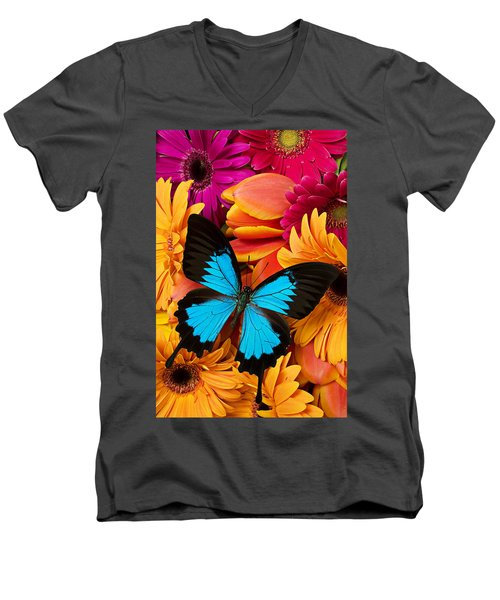 Blue Butterfly On Brightly Colored Flowers Men's V-Neck T-Shirt