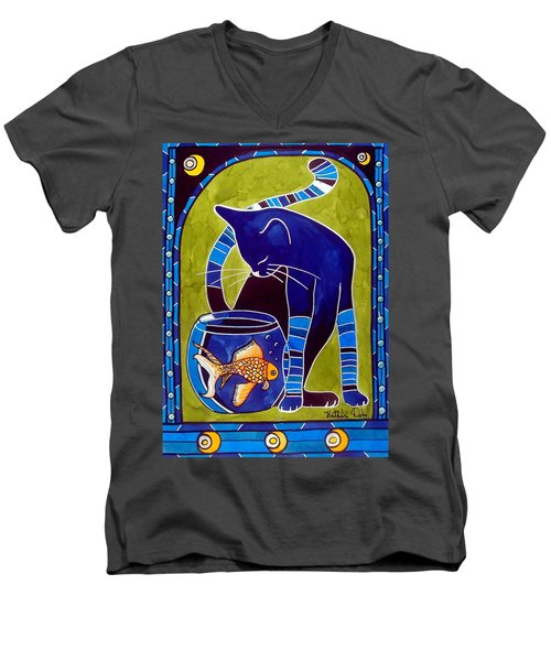 Blue Cat With Goldfish Men's V-Neck T-Shirt