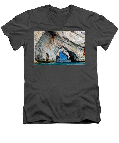 Blue Caves 2 Men's V-Neck T-Shirt by Rainer Kersten