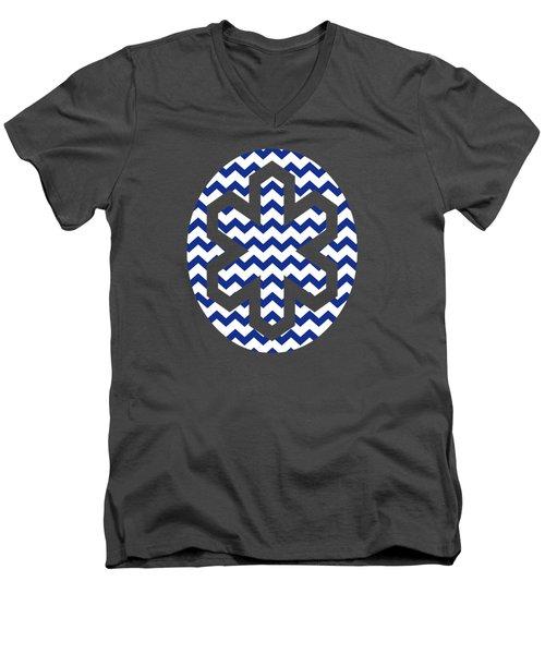 Blue Chevron Pattern Men's V-Neck T-Shirt