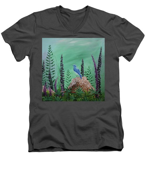 Blue Chickadee Standing On A Rock 2 Men's V-Neck T-Shirt