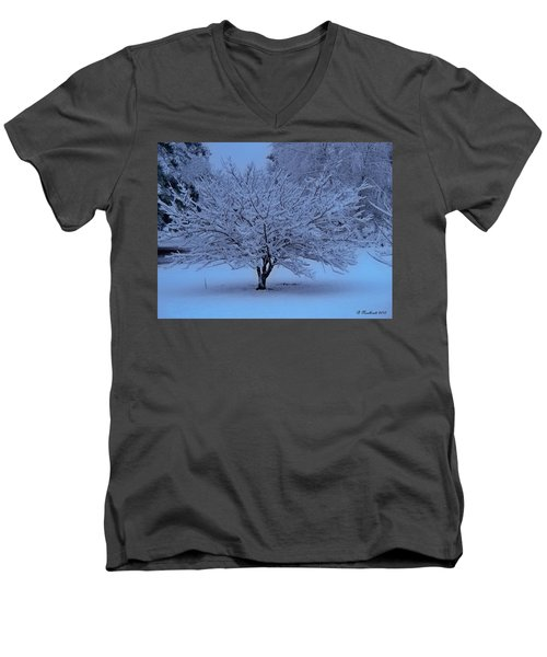 Men's V-Neck T-Shirt featuring the photograph Blue Christmas by Betty Northcutt