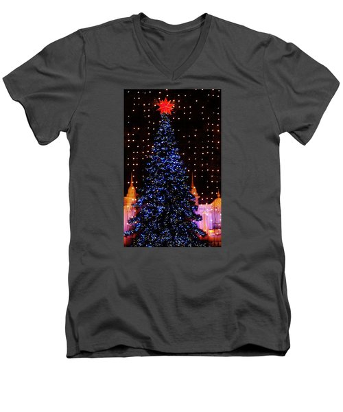 Blue Christmas Tree Men's V-Neck T-Shirt