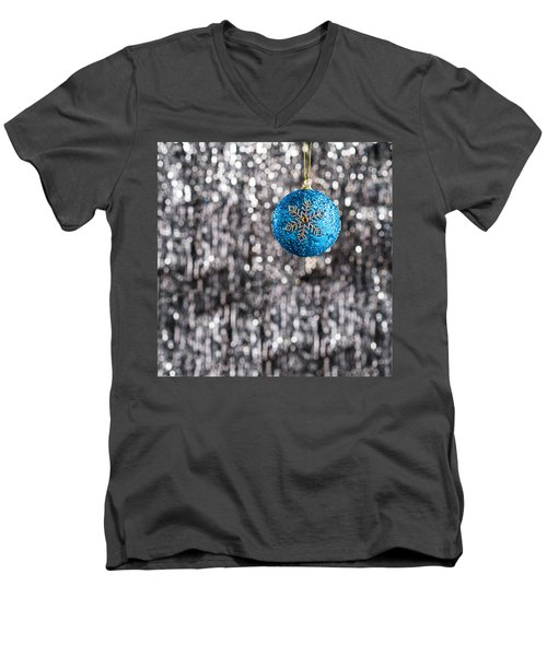 Men's V-Neck T-Shirt featuring the photograph Blue Christmas by Ulrich Schade