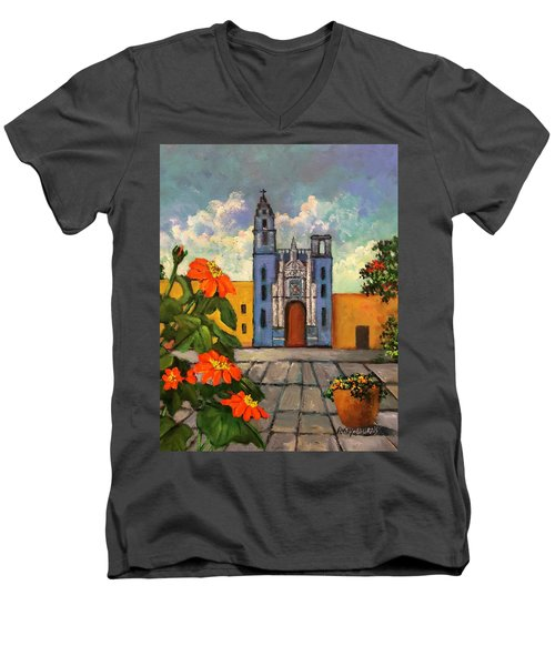 Blue Church   Iglesia Azul Men's V-Neck T-Shirt