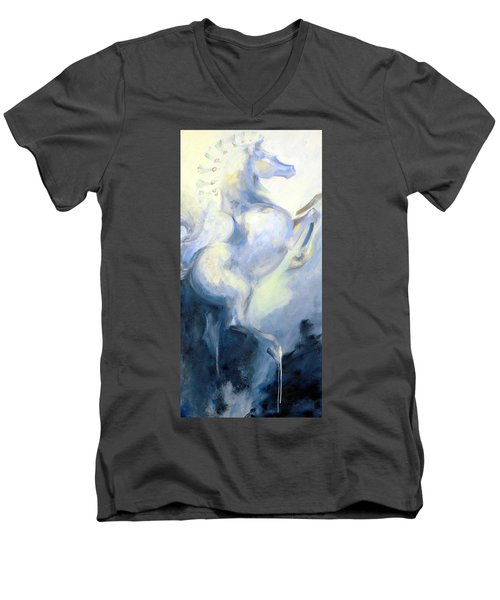 Blue Circus Pony 1 Men's V-Neck T-Shirt by Dina Dargo