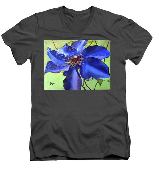 Blue Clematis Men's V-Neck T-Shirt