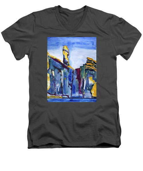 Blue Cliffs, Sea And Sky Men's V-Neck T-Shirt