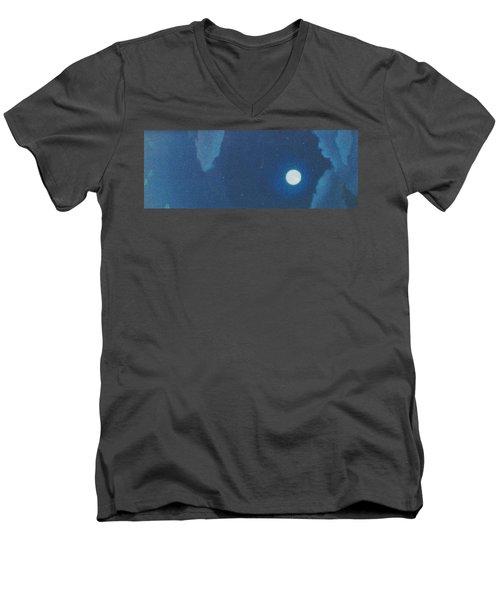 Blue Cloudy Moon Men's V-Neck T-Shirt