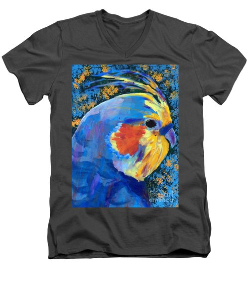 Men's V-Neck T-Shirt featuring the painting Blue Cockatiel by Donald J Ryker III