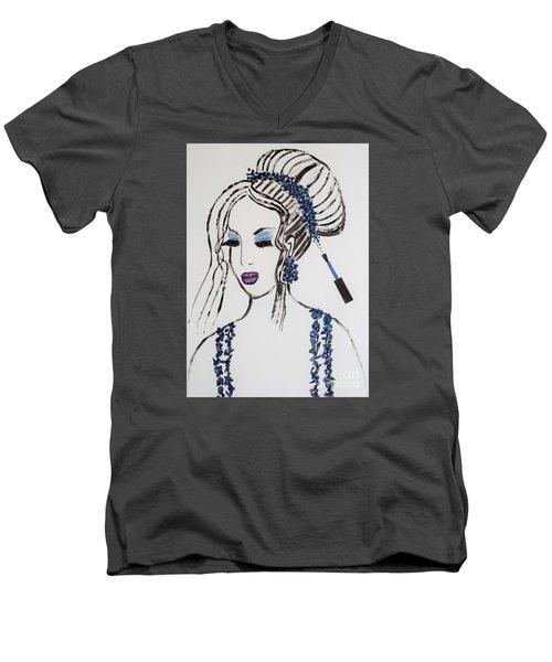 Blue Color Fan Men's V-Neck T-Shirt