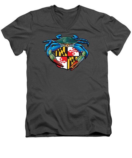 Blue Crab Maryland Crest Men's V-Neck T-Shirt