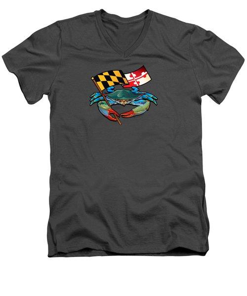 Blue Crab Maryland Flag Men's V-Neck T-Shirt
