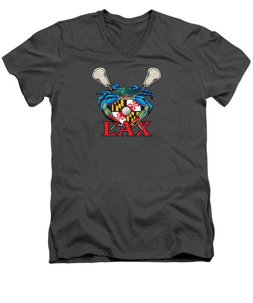 Blue Crab Maryland Lax Crest Men's V-Neck T-Shirt