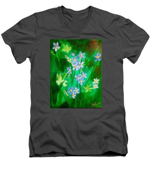 Blue Crocus Flowers Men's V-Neck T-Shirt
