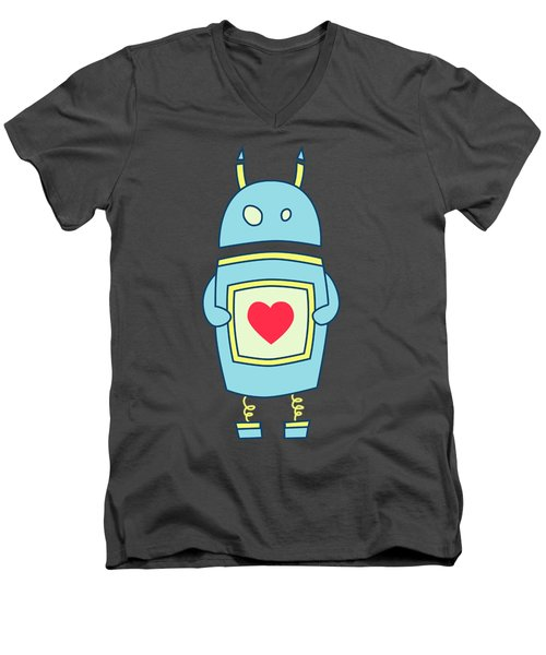 Blue Cute Clumsy Robot With Heart Men's V-Neck T-Shirt