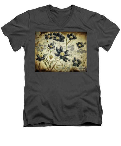 Men's V-Neck T-Shirt featuring the digital art Blue Daisies by Lois Bryan