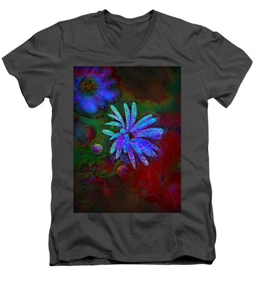 Men's V-Neck T-Shirt featuring the photograph Blue Daisy by Lori Seaman