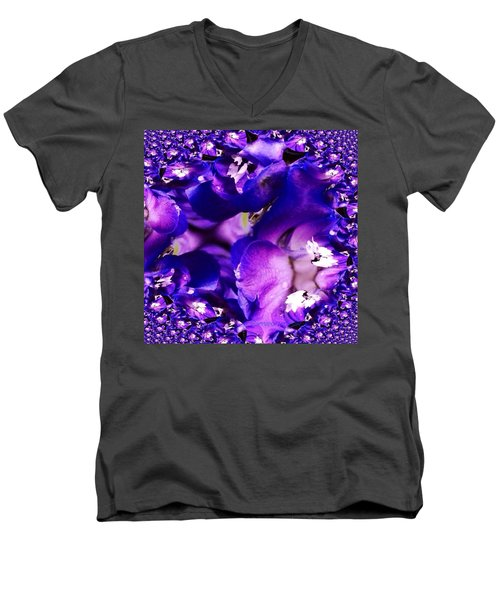 Blue Delphinium Abstracted Men's V-Neck T-Shirt by Anna Porter