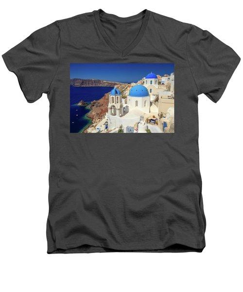 Blue Domed Churches Men's V-Neck T-Shirt by Emmanuel Panagiotakis
