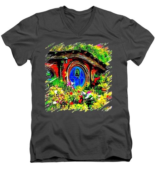Blue Door Hobbit House-t Shirt Men's V-Neck T-Shirt