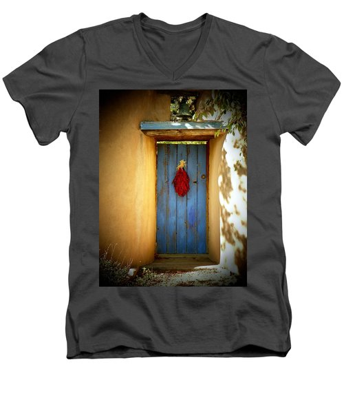 Men's V-Neck T-Shirt featuring the photograph Blue Door With Chiles by Joseph Frank Baraba