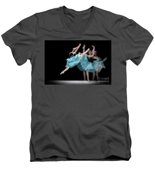 Men's V-Neck T-Shirt featuring the photograph Blue Dress Dance by Dimitar Hristov