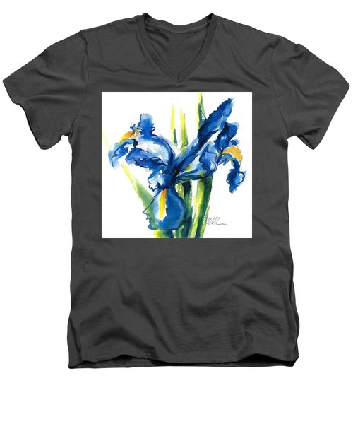 Blue Dutch Iris Flower Painting Men's V-Neck T-Shirt