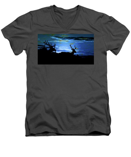 Men's V-Neck T-Shirt featuring the mixed media Blue Elk Dreamscape by Mike Breau